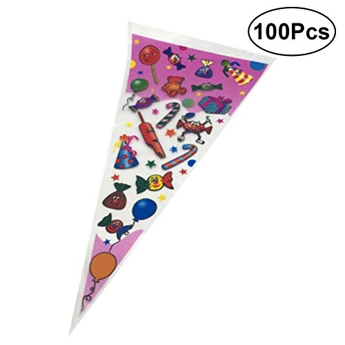 100Pcs Triangular Clear Cellophane Bags OPP Plastic Cookie Candy Biscuit Lollipop Gift for Wedding Xmas Holiday Party