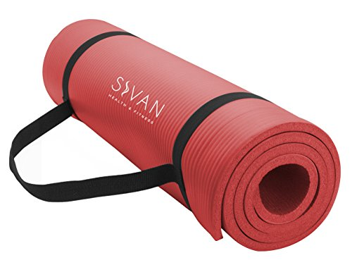 Sivan Health and Fitness NBR Yoga and Pilates Mat (Red)