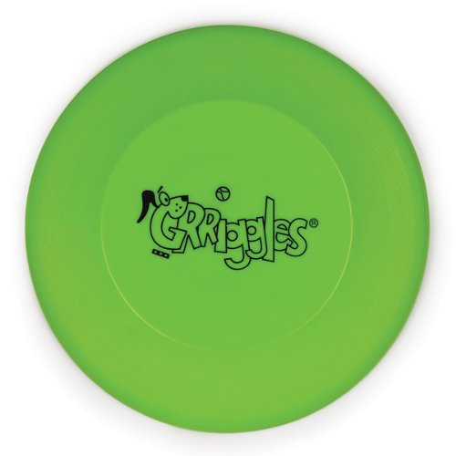 Grriggles 9-Inch Plastic Flying Disc Dog Toy, Parrot Green