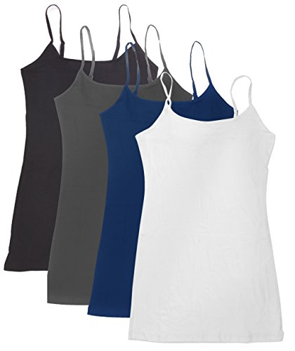 4 Pack: Active Basic Cami Tanks (2X, D.Teal/White/Charcoal/Black)