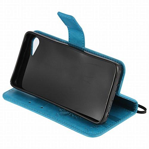 Custodia Lenovo ZUK Z2 Cover Case, Ougger Alberi Gatto Printing Portafoglio PU Pelle Magnetico Stand Morbido Silicone Flip Bumper Protettivo Gomma Shell Borsa Custodie con Slot per Schede (Azzurro)
