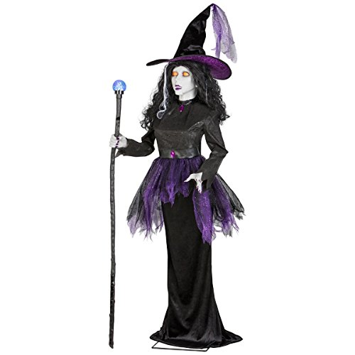 Halloween Lifesize Animated Talking Witch With Moving Mouth Holding Projection Magic Wand w/ Color Changing Lights By Gemmy