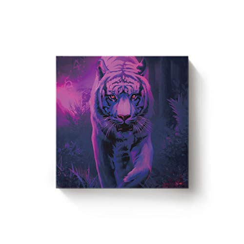 Arts Language Canvas Wall Art Square Oil Painting Office Bedroom Kitchen Living Room Home Decor,Ferocious Tiger Animal Printed Purple Artworks,Stretched by Wooden Frame,Ready to Hang,12 x 12 -