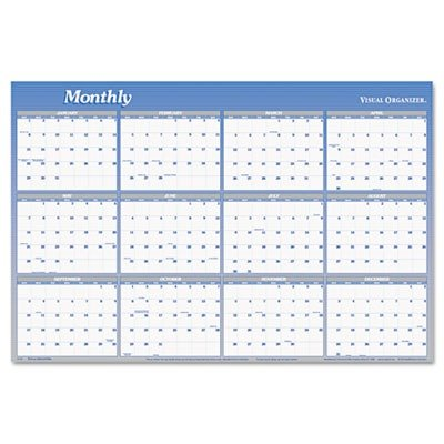 AT-A-GLANCE Visual Organizer Vertical/Horizontal Erasable Wall Planner, Large Wall, Blue, 2013 (A1152-13)