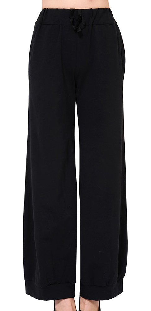 Generic Women's Daily Loosing Style Trousers Size 28 Black by Generic
