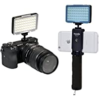 LED Video Light Commlite CM-L50 Dimmable 50 LED Ultra High Power Panel video light Portable Multi-functional Mini for Micro Camera Sony Camera and smartphone(Black)