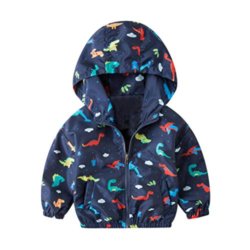 Toddler Baby Girls Boys Clothes Sets for 12 Months-6T,Fashion Dinosaur Cartoon Print Zipper Hooded Tops Thin Jacket Outfit (2T-3T, Dark Blue) ()