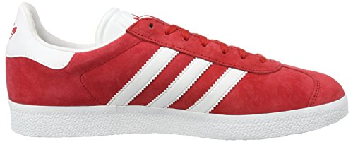 adidas Unisex-Erwachsene Gazelle Low-Top Rot (Power Red/White/Gold Met.)