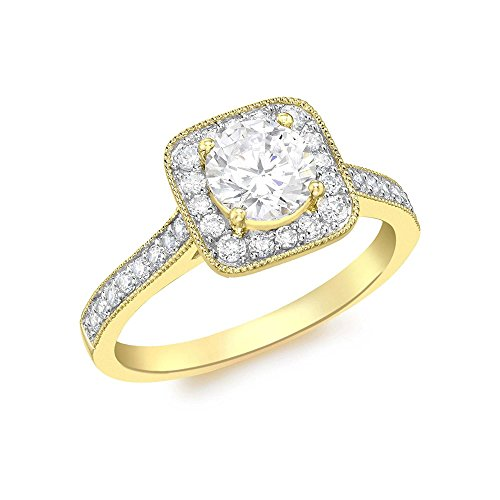 RSJ Global 14k Yellow Gold Plated 1.10ct Simulated Diamonds Engagement Wedding Square Ring For Womens