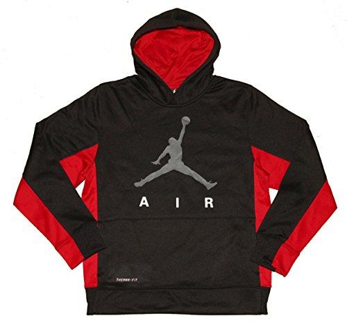Nike Air Jordan Boys Therma Fit Pullover Hoodie Sweatshirt Black Red Large by Nike