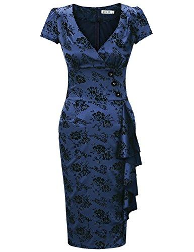 MUXXN Women's 1950s V-Neck Short Sleeve Cocktail Dress(S,Blue)