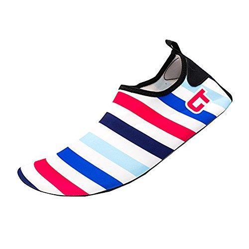 JACKSHIBO Männer Frauen und Kinder Quick-Dry Wasser Haut Schuhe Aqua Socken Für Wassersport Schwimmen Surf Yoga Exercise Beach Streifen-blau Rot