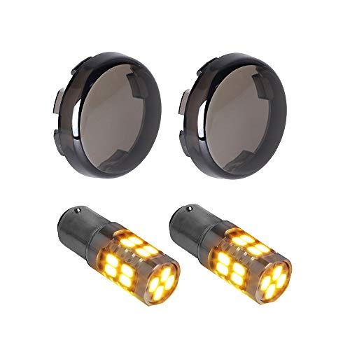 NTHREEAUTO Smoked Bullet Rear Turn Signals 1156 Amber LED Lights Compatible with Harley Dyna Street Glide Road King