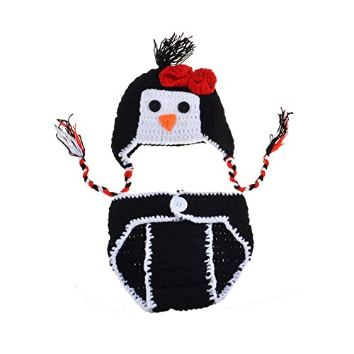 GUSTA Baby Newborn Photo Prop Crochet Knit Penguin Costume Outfit Hat Short Set -