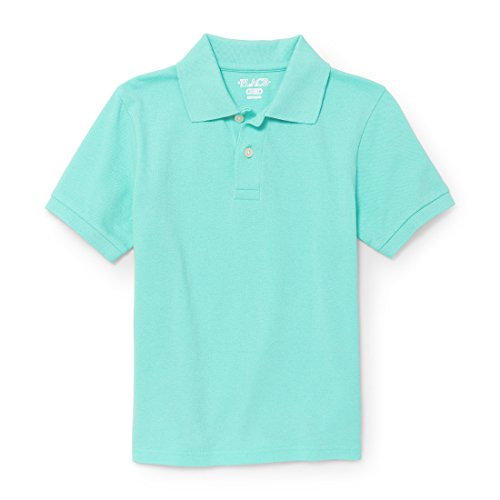 The Children's Place Big Boys' Short Sleeve Solid Polo 1, Mellow Aqua 87458, S (5/6)