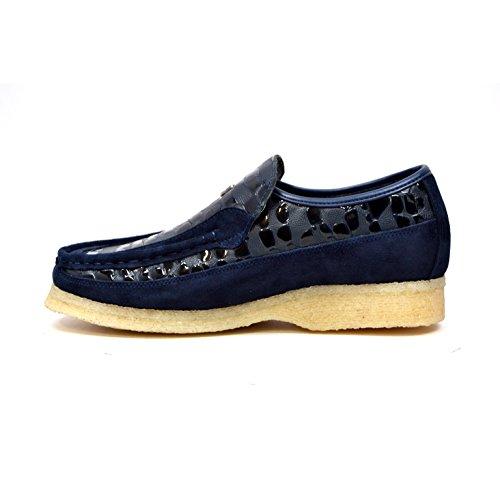 Britse Collectie - Steen Croc Leer En Suede Marine Slip Op Schoenen 8