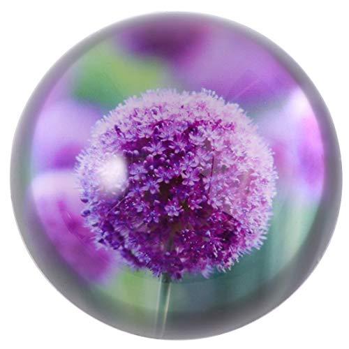 HANUR Crystal Purple Flower Paperweight Glass Globe Hemisphere Press Case Creative Decoration Office Supplies
