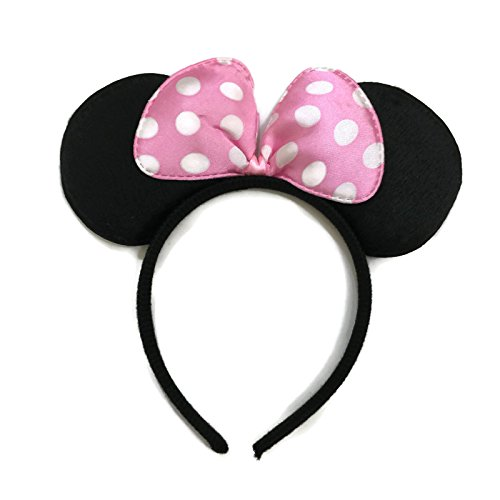 Pink Minnie Ears (Rush Dance Light Pink Minnie Ears Birthday Party Favor Bow Accessories Headband)