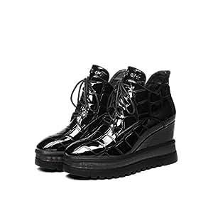 YAN Botas de Microfibra de la Plataforma de Las Mujeres Zapatos con Cordones Zapatos de tacón Alto cuña Botines al Aire Libre Caminar Zapatos,Black,41