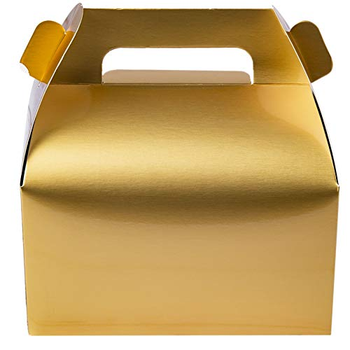 25-Pack Gable Gold Candy Treat Boxes,Small Goodie Gift Boxes for Wedding and Birthday Party Favors 6.2 x 3.5 x 3.5 inch