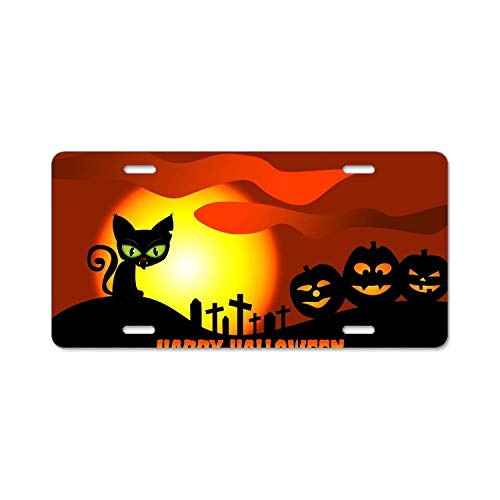 YEX Happy Halloween License Plate with 4 Holes Novelty Car Licence Plate Covers Tag Sign 12
