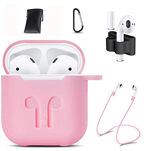 GIM AirPods Case Cover,7 in 1 AirPods Accessories Silicone Airpods Protective Cover Set with Clip Holder/Keychain/Strap/Earhooks/Soft Storage Bag for Apple Airpod (Young Pink)
