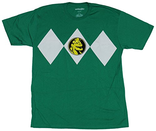 [Mighty Morphin Power Rangers Mens T-Shirt - Costume Front Green Ranger No Belt (Extra Large) Green] (Adult Clifford Costumes)