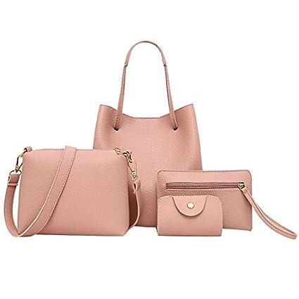24986ac93304 Amazon.com: 4PCS Women's Bag Set Fashion Litchi Print Handbag Tassel ...