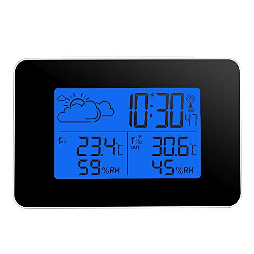 ONEVER Wireless Forecast Station, Indoor Outdoor Weather Station Indoor Outdoor Thermometer Wireless Temperature and Humidity Monitor with Backlight & Alarm Clock for Home Office