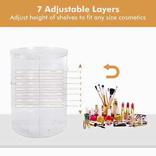 Makeup Organizer 360 Degree Rotating Large Capacity Cosmetic Storage Box 7 Layers Adjustable Shelf Height, Fits Makeup…