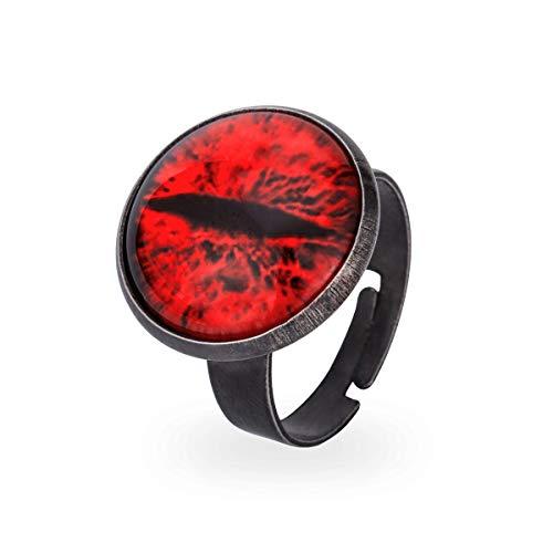 (GANG SHI DAI Stainless Steel Biker Ring, Men's Evil Eye Band, Vintage, Red)