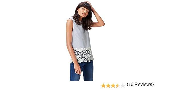 find. Stripe Lace Trim Blusa para Mujer, Azul (Blue), 46 (Talla del Fabricante: XX-Large): Amazon.es: Ropa y accesorios