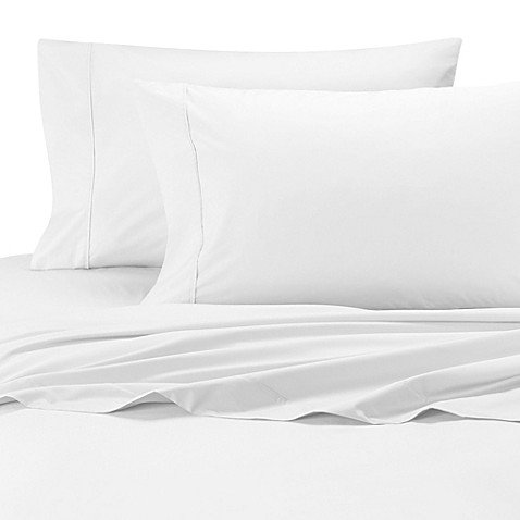 Wamsutta Cool Touch Percale Cotton King Fitted Sheet in White ()