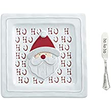 Mud Pie 4115024S Holiday Santa Cheese Plate Set, One Size, White, red