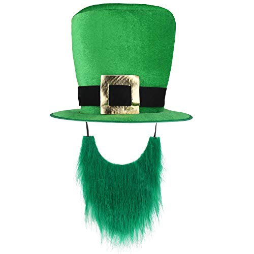 St. Patricks Day Costumes Green Top Hat with Beard -