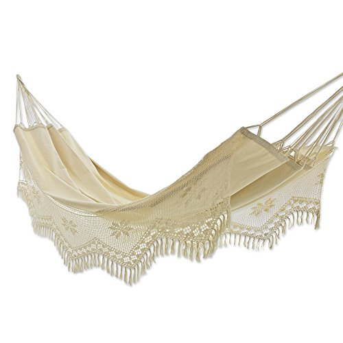 NOVICA Handmade Brazilian Natural Ecru Cotton 2 Person Hand Woven Hammock with Crochet Fringe, Manaus Bouquet' (Single)