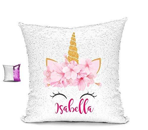 BlueVStudio Magic Pillow Unicorn with Blue /& Pink Flowers Personalized Reversible Sequin Pillow Case Sequin Pillow
