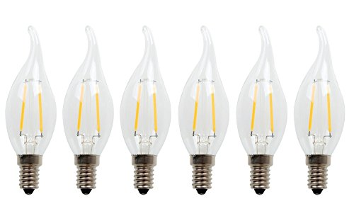 LUXON Flame tip LED filament candelabra light bulb Warm White 2700k Use in Chandeliers,Wall Sconces,and Pendant Lighting (6 Pack)