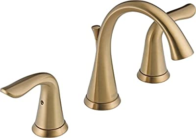 Delta Faucet Lahara 2-Handle Widespread Bathroom Faucet with Diamond Seal Technology and Metal Drain Assembly, Champagne Bronze 3538-CZMPU-DST