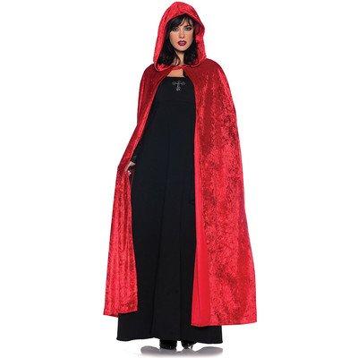 Women's Costume Cape - Full Length Velvet Hooded Cloak, Red, One Size Gothic Velvet Hooded Cape
