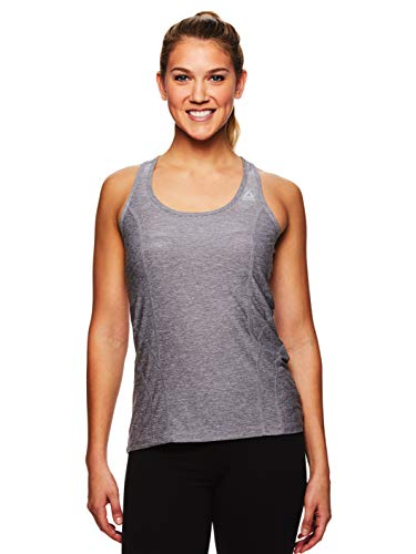 Reebok Women's Dynamic Fitted Performance Racerback Tank Top - Quietshade Heather, Large