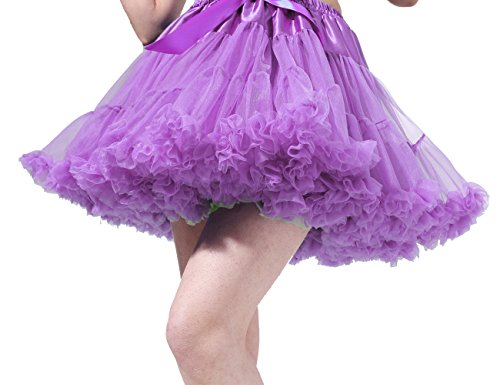 50s Style Dance Costumes (Tsygirls Women's 50s Vintage Bubble Skirt Crinoline Tutu Short Tulle Dance Petticoat Ballet Slip Chemise Underskirts Lavender Size L-XL)