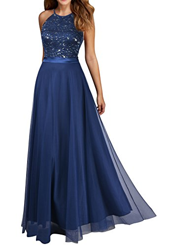 Evening Prom Party Formal Gown - Viwenni Women's Vintage Lace Evening Party Wedding Long Dress S Blue