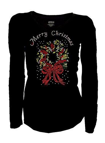 Merry Christmas & Wreath Bling Bling Rhinestones T-Shirt, Long - Christmas Bling