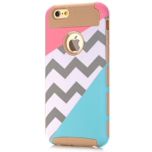 iPhone 6s Case,iPhone 6 Case,LUOLNH [2in1] Heavy Duty Hybrid Hard Case for Apple Iphone 6, 6s[4.7inch], Blue Mint Teal and Coral Pink Split Chevron Design Cover (Gold)