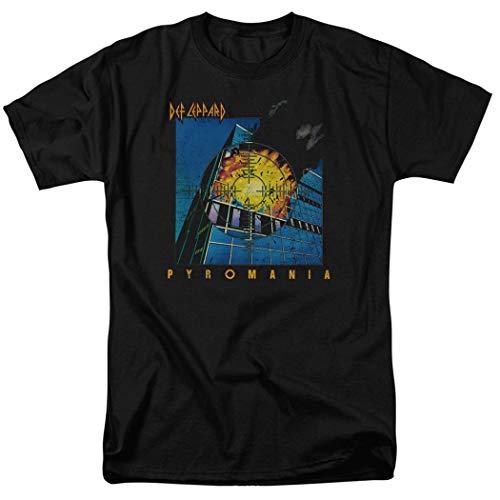 Def Leppard Pyromania Album Cover T Shirt & Exclusive Stickers (Medium) Black