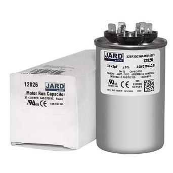 3 uf MFD 370 440 VAC Round Dual Capacitor 12826 Replaces C3303R C4303R 30