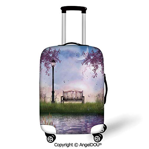 AngelDOU Thicker Spandex Travel Suitcase Protective Cover Lake House Decor Bench on Flowing River with Lightpost Crescent Moon Lavender Trees and Grass Illustration Multi Trolley Dust Rain Bags Acces