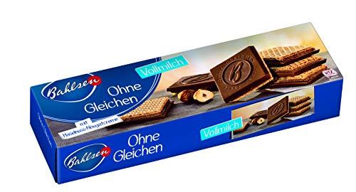 Biscoito Wafer com Recheio de Torrone de Avelã e Cobertura de Chocolate ao Leite First Class Bahlsen Caixa 125g