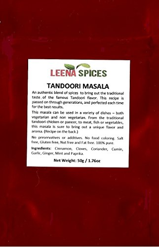 LEENA SPICES-Tandoori Masala Powder Seasoning-Mild With No Food Coloring Or Salt-Best Selling Mix For Indian Pakistani Herbs And Spice-With Chicken Tikka Recipe-Marinade Blend Rub-A Glory To Kitchen.